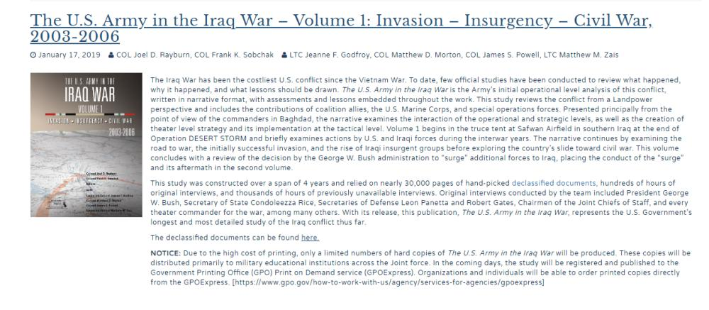 الجيش الأمريكي ينشر دراسة محرجة عن غزو العراق
