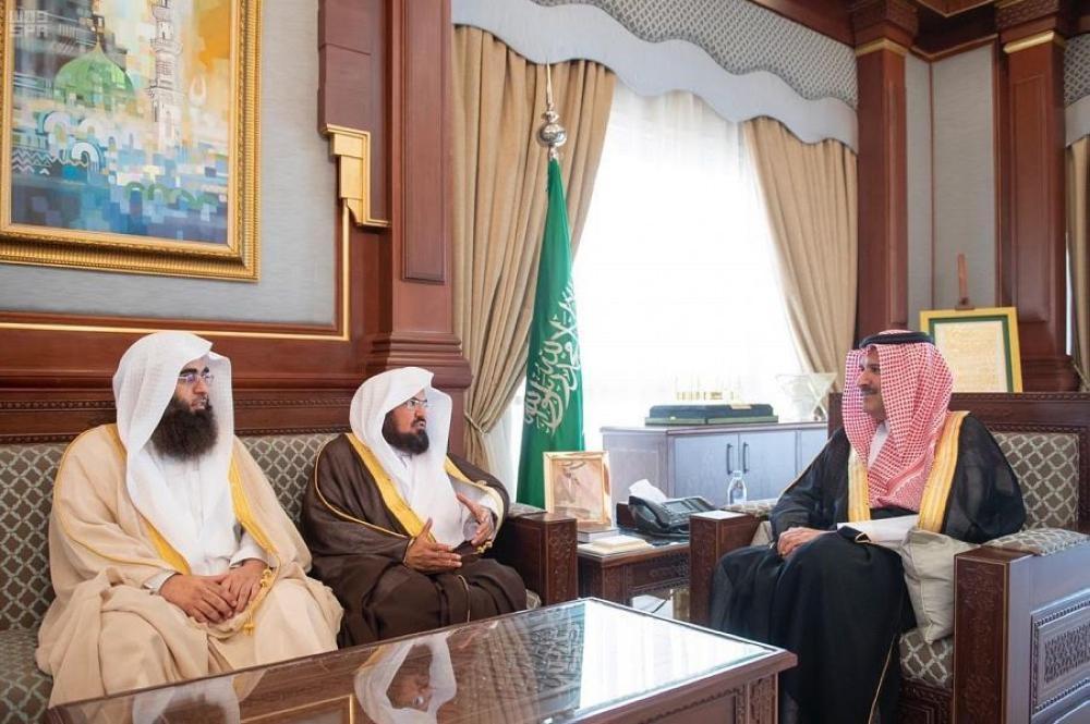 أمير المدينة المنورة يستقبل الرئيس العام لشؤون المسجد الحرام والمسجد النبوي - صحيفة مكة