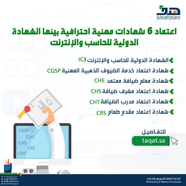 هدف يعتمد 6 شهادات مهنية احترافية صحيفة مكة