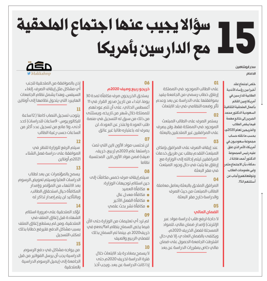 15 سؤالا يجيب عنها اجتماع الملحقية مع الدارسين بأمريكا صحيفة مكة